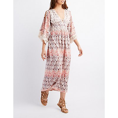 Floral Flutter Split Sleeve Maxi Dress