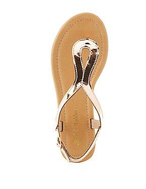 Metallic Looped T-Strap Sandals