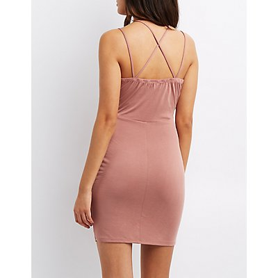 Strappy Pleated Bodycon Dress
