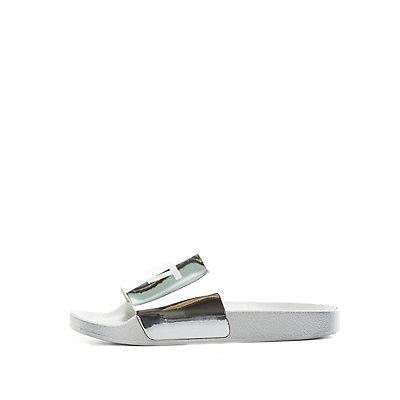 Qupid Its Lit Slide Sandals