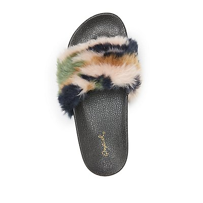 Qupid Faux Fur Slide Sandals