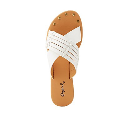 Qupid Crisscross Slide Sandals