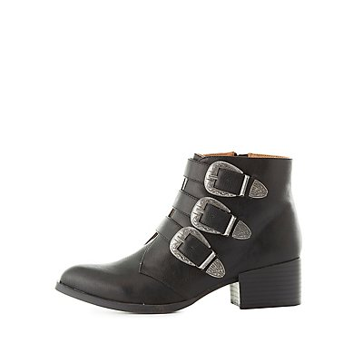 Qupid Western Buckled Booties