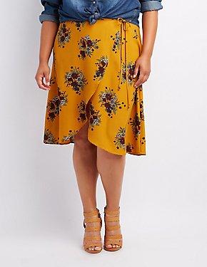 Plus Size Floral Midi Wrap Skirt
