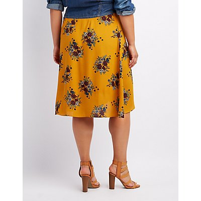 Plus Size Floral Midi Wrap Skirt