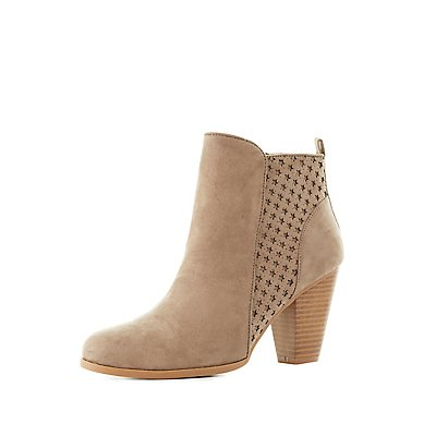 Qupid Star Embossed Ankle Booties