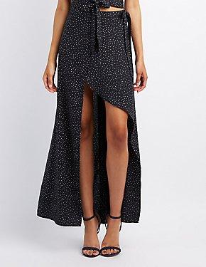 Polka Dot Maxi Wrap Skirt