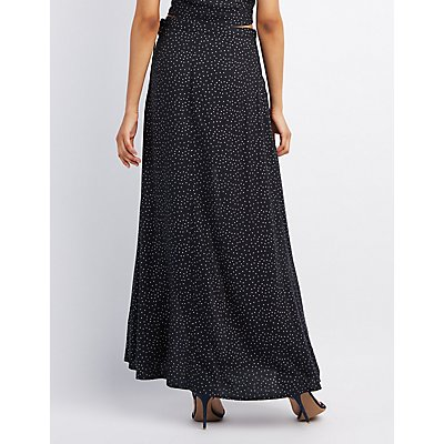 Polka Dot Maxi Wrap Skirt