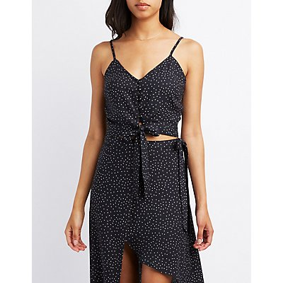 Polka Dot Tie-Front Crop Top