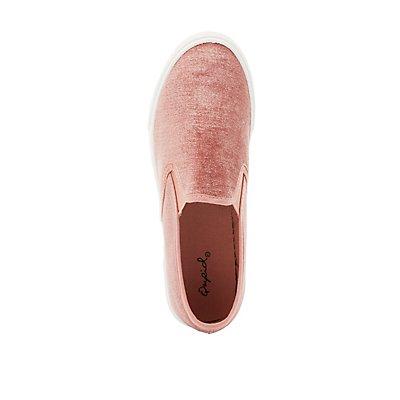 Qupid Velvet Slip-On Sneakers