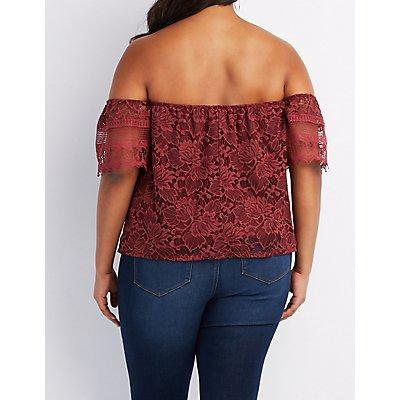 Plus Size Crochet-Trim Lace Off-The-Shoulder Top