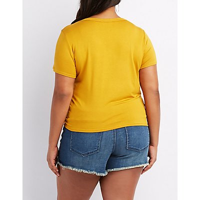 Plus Size You Look Good Today Cut-Out Tee