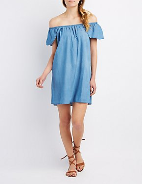 Chambray Off-The-Shoulder Shift Dress