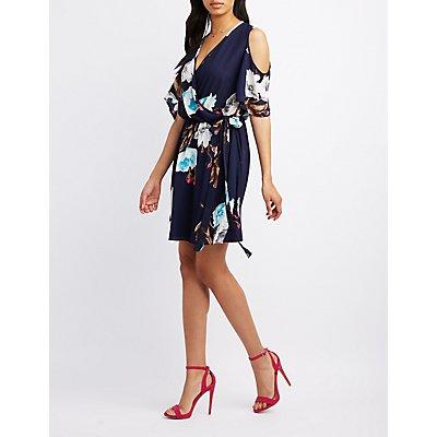 Floral Surplice Cold Shoulder Dress