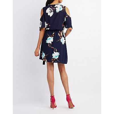 Floral Surplice Cold Shoulder Dress