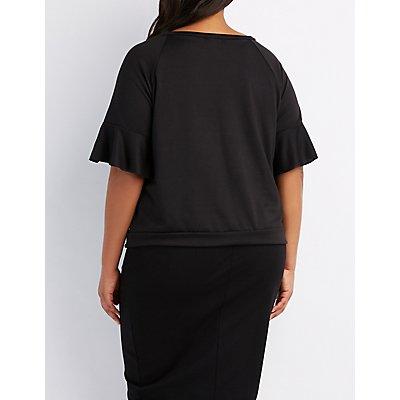 Plus Size French Terry Ruffle-Trim Sweatshirt