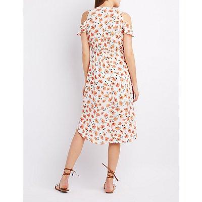 Floral Ruffle-Trim Cold Shoulder Wrap Dress
