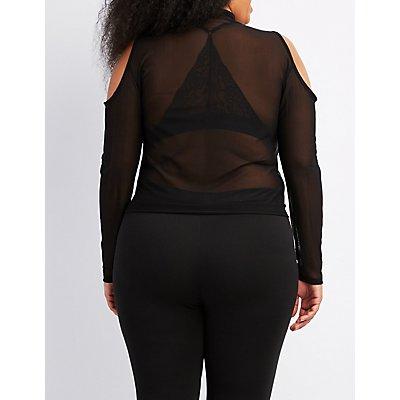 Plus Size Mesh Zip-Front Cold Shoulder Top