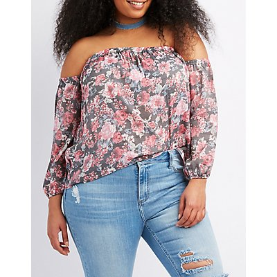 Plus Size Floral Ruched Sleeve Off-The-Shoulder Top