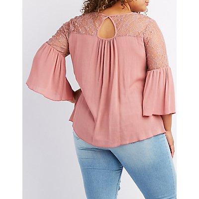 Plus Size Lace Yoke Bell Sleeve Top
