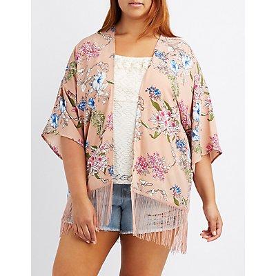 Plus Size Floral Fringe-Hem Kimono
