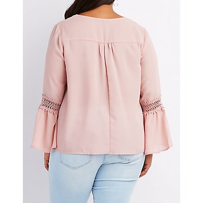 Plus Size Crochet-Trim Bell Sleeve Blouse