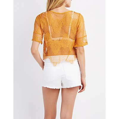 Scalloped Eyelash Lace Top