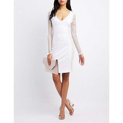 Mesh-Sides Bodycon Dress