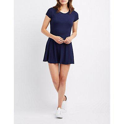 Lace-Up Back Swing Dress