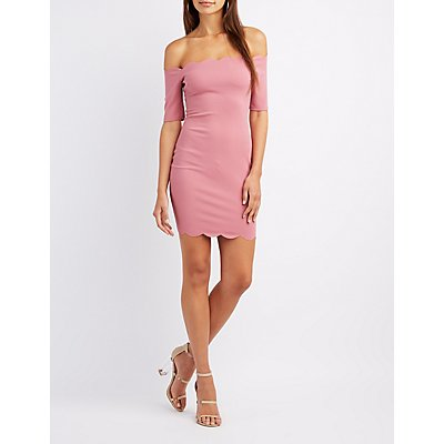 Off-The-Shoulder Scalloped Bodycon Dress