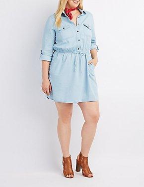 Plus Size Chambray Button-Up Shirt Dress