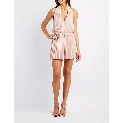 Pleated Plunging Halter Romper