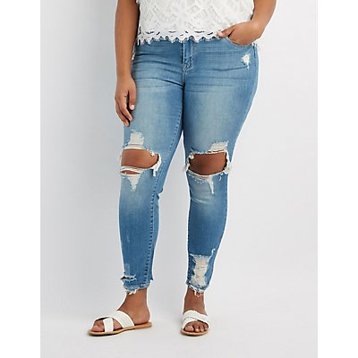 Plus Size Destroyed Skinny Jeans