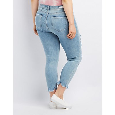 Plus Size Cello Frayed Hem Destroyed Skinny Jeans