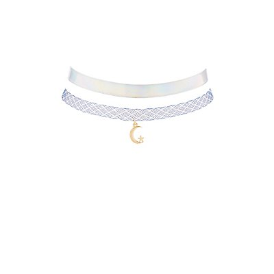 Plus Size Holographic Choker Necklace - 2 Pack