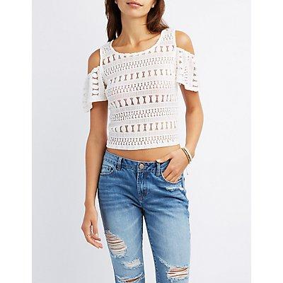 Crochet Lace Cold Shoulder Top