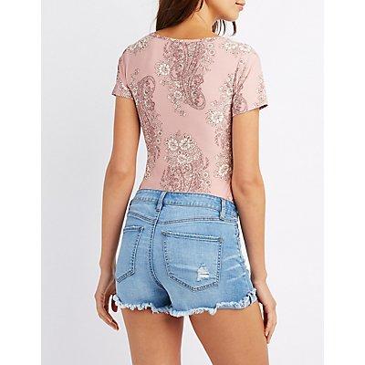 Strappy Floral Print Bodysuit