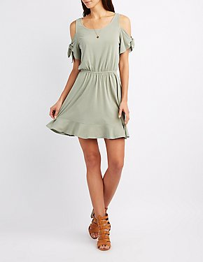 Cold Shoulder Tie Sleeves Skater Dress