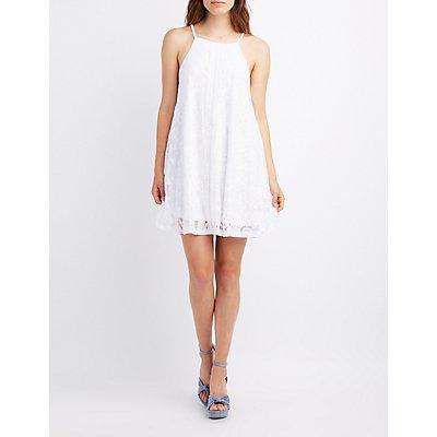Lace Bib Neck Shift Dress