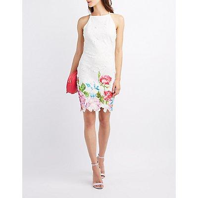 Floral Crochet Bib Neck Dress