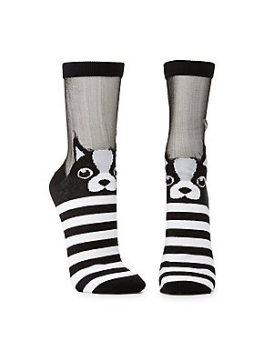 Striped Frenchie Crew Socks