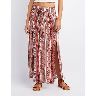 Printed Wrap Tie Maxi Skirt