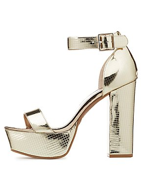 Metallic Platform Two-Piece Sandals