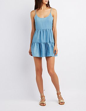 Chambray Tiered Shift Dress