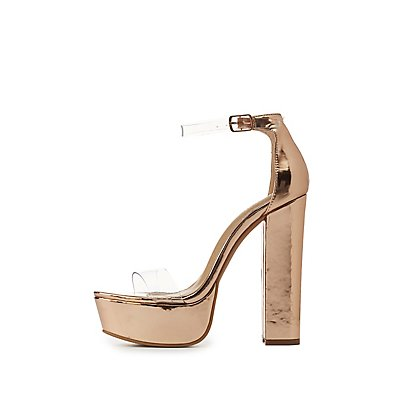 Clear Two-Piece Platform Sandals