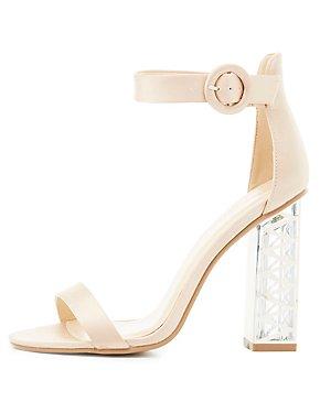 Two-Piece Lucite Heel Sandals