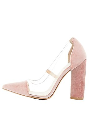 Clear & Velvet Pointed Toe Pumps