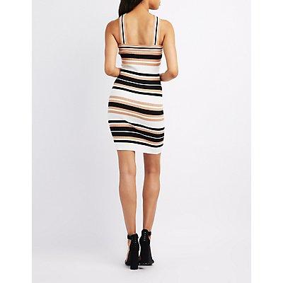 Striped Halter Bodycon Dress