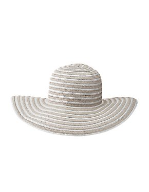 Mixed Weave Floppy Straw Hat