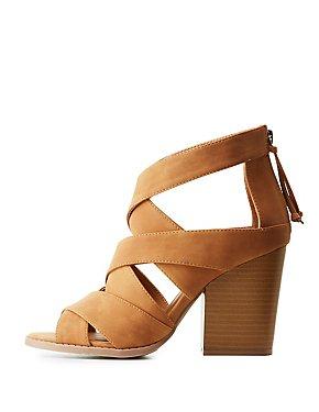 Strappy Lattice Block Heel Sandals